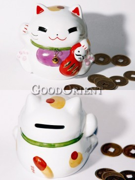 Porcelain Maneki Neko Piggy Bank-Holding A Doll