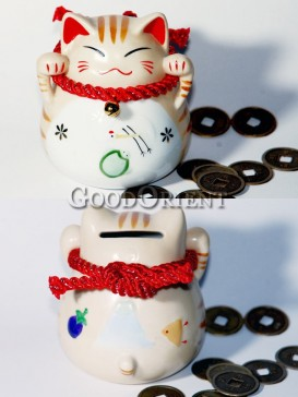 Porcelain Maneki Neko Piggy Bank