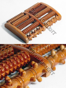 Therapeutic Wooden Foot Massage Roller-Brown
