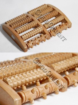 Therapeutic Wooden Foot Massage Roller-Beige