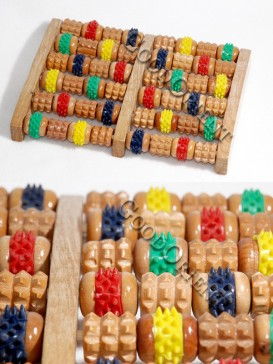 Colored Wooden Body And Foot Massage Roller
