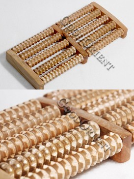 Wooden Body And Foot Massage Roller-Five Rows