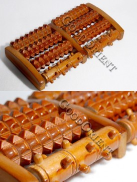 Wooden Body And Foot Massage Roller-Four Rows