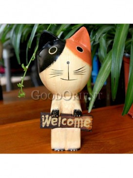 The Wood Cat display Decoration