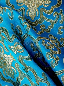 Medium Turquoise Floral Brocade