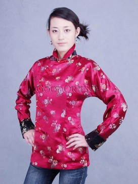 Chinese Red Rose High Collar Jacket