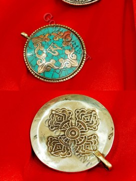 Turquoise And Tibetan Painting Pentant