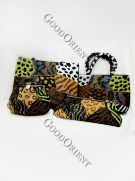Panther Print Four Set Beaded Bag