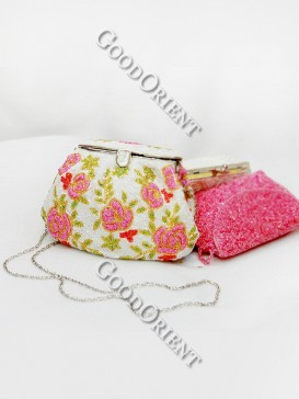 Pink Flower Shell Shaped Beaded Bag