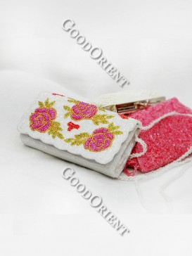 Pink Flower Middle Rectangle Beaded Bag