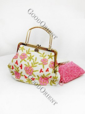 Pink Flower Big Beaded Bag