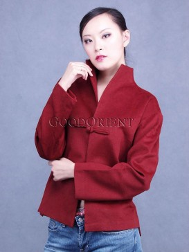 Chinese Red V-neck Cashmere Jacket