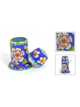 Peony Cloisonne Tooth Pick Holder---Blue