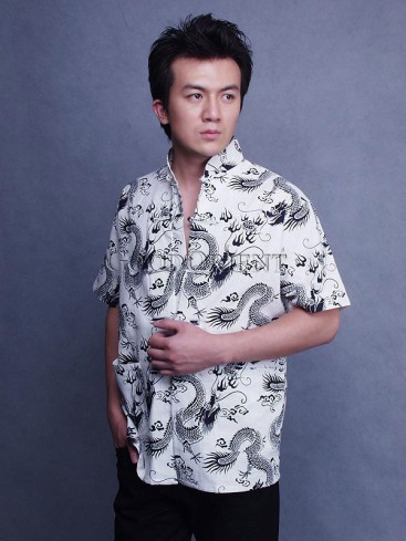 Cool Linen Shirt Patterned With Dragons