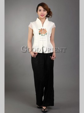 Chic Embroidery Floral Chinese Blouse---White