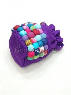 Purple Hand Bag with Colourful Pearl