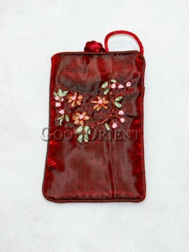 Dark Red Floret Cellphone Bag