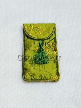 Grass Green Sequins Cellphone Bag