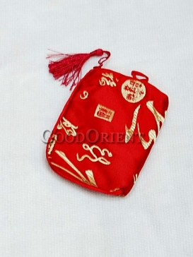 Hot Red Chinese Calligraphy Cellphone Bag