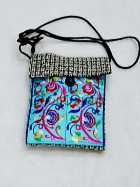 Graceful Light Blue Embroidery Cellphone Bag