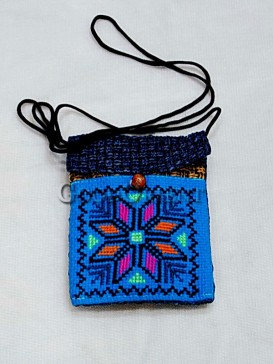 Elegant Blue Cross-stitch Cellphone Bag