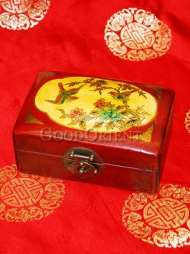 Yellow Magpies Peony Pattern Wooden Cosmetic Cases