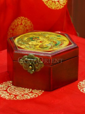 Hexagonal Dragon and Phoenix Patterns Wooden Cosmetic Cases
