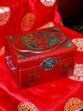 Cuboid Dragon and Phoenix Patterns Wooden Cosmetic Cases