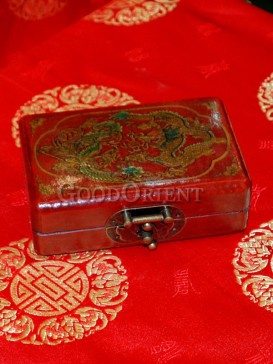 Red Dragon and Phoenix Patterns Wooden Cosmetic Cases