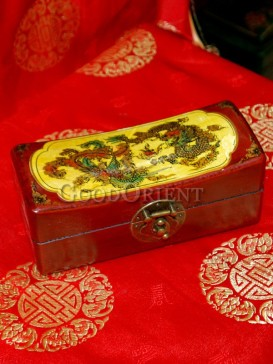 Yellow Flying Dragon and Phoenix Wooden Cosmetic Cases