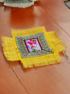 Two - Rectangle Ethnic Yellow Coaster