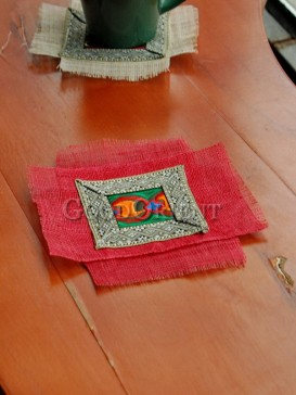 Red two-Rectangle Ethnic Coaster