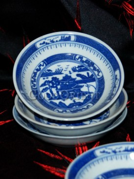 Blue and White Porcelain Saucer With Old Chinese Loft