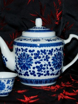 Delft Style Flower Blue and White Porcelain Teapot