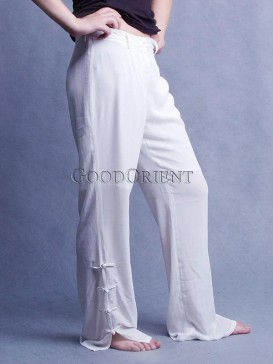 Pure White Frog Button Pants