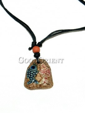 Two Fish on the beach Necklace - China Dongba Ornaments