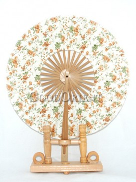 White Circular Fabric Fan with Orange Flowers