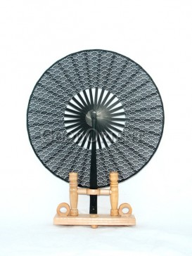 Black Circular Fabric Fan with Fish Scale Picture