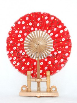 Red Circular Fabric Fan with Colored Dots