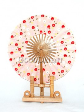 Light Pink Circular Fabric Fan with Colored Dots