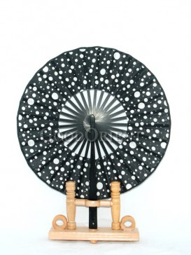 Black Circular Fabric Fan with White Dots
