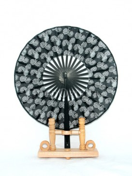 Circular Fabric Black Fan with White Flower Picture