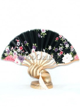 Oriental Black Fabric Fan with Many Small Flowers