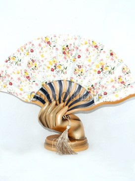 White Fabric Fan with Colored Flowers