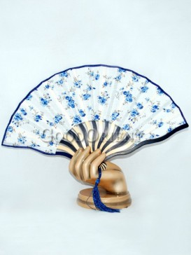 White Poetry Fabric Fan with Blue Flowers