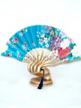 Blue Fabric Fan with Colored Flowers
