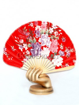 Red Semicircular Fabric Fan with Colored Flowers