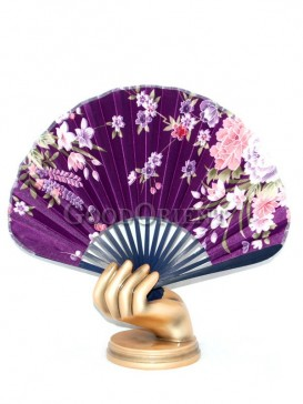Purple Semicircular Fabric Fan with Colored Flowers