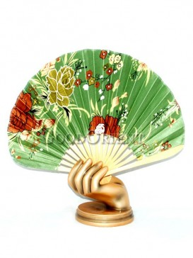 Green Semicircular Fabric Fan with Colored Flowers