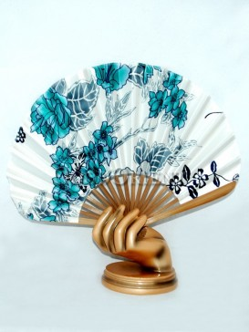 White Base Semicircular Fan with Blue Flowers